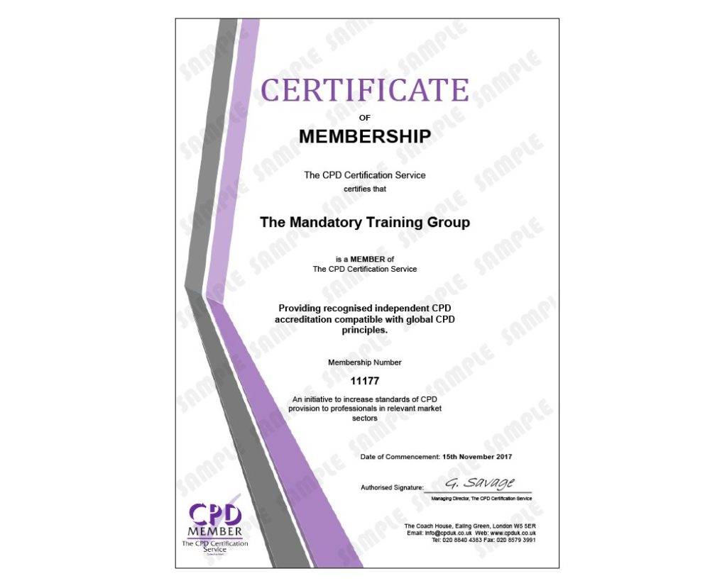 COSHH Training Level 2 - Online CPD Accredited Course - The Mandatory Training Group UK -