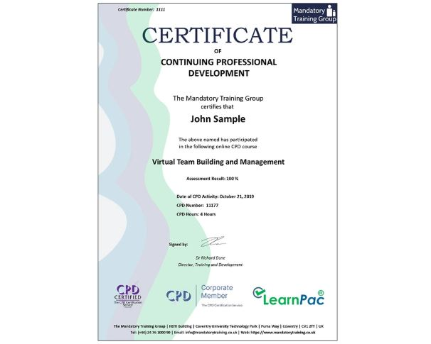 Virtual Team Building & Management - Online Course - The Mandatory Training Group UK -