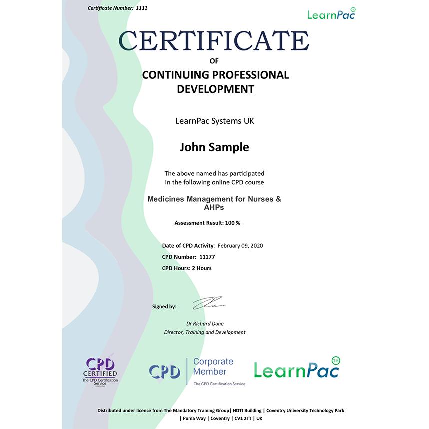 Medicines Management for Nurses & AHPs - Level 3 - Online Course - LearnPac Systems UK -